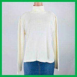 Talbots Women's Top Size L Ivory Pima Cotton